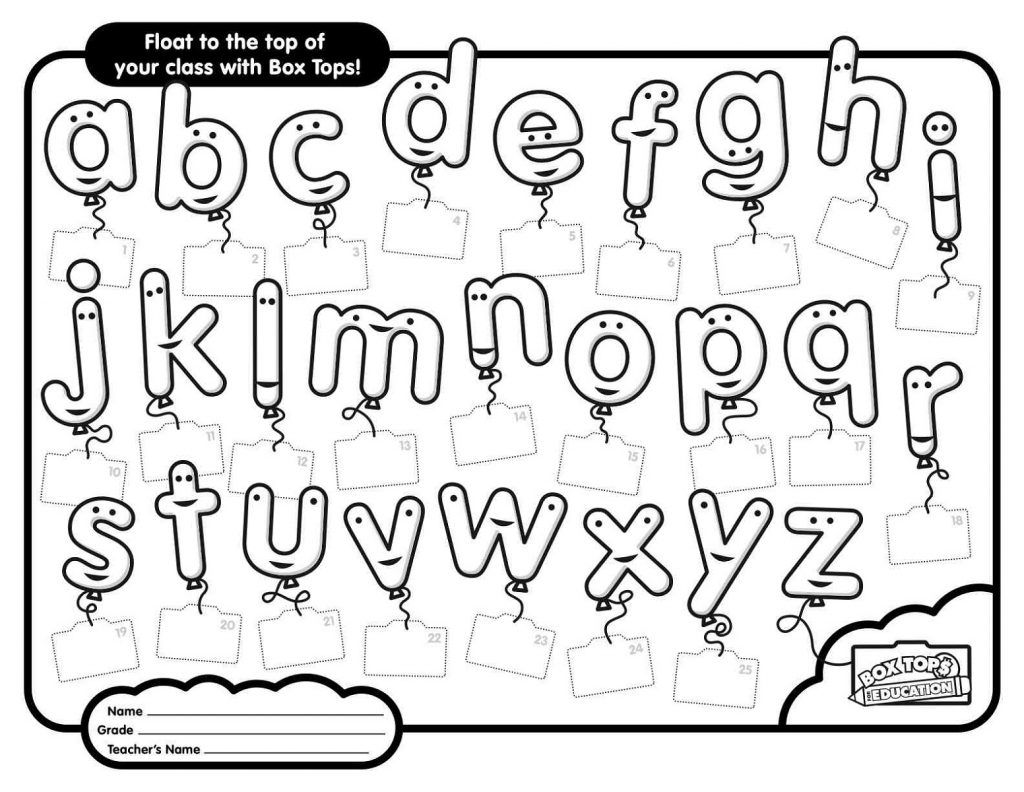 Printable Abc Worksheets Free Box Tops Box Top Collection Sheets Letter Worksheets For Preschool [ 792 x 1024 Pixel ]