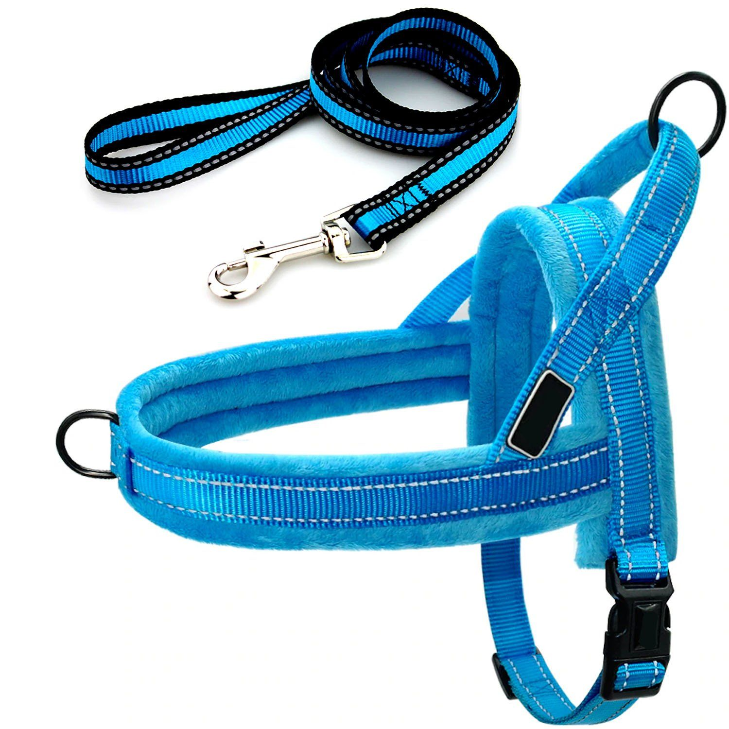 Easy To Walk Dog Front And Back Clip Harness And Leash Set No