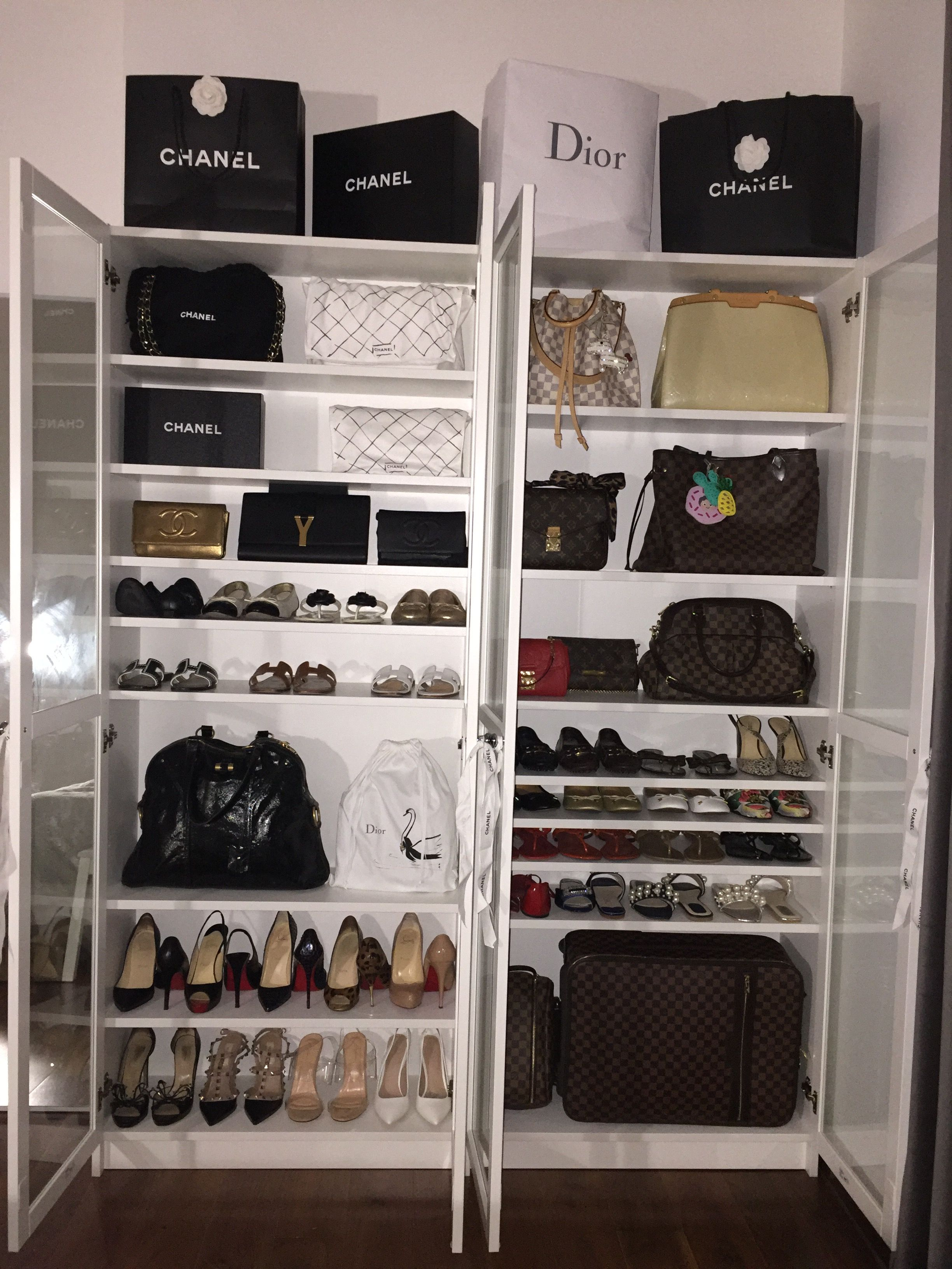 Handbag And Shoe Display Cabinet Ikea Billy Bookcase