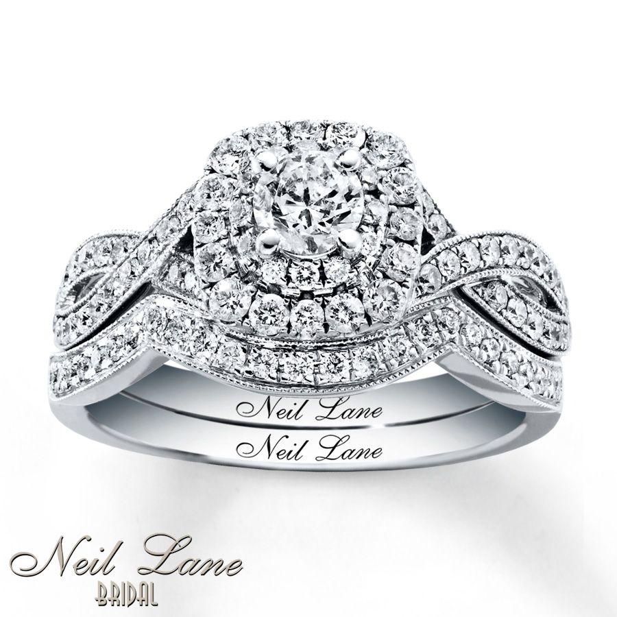 Great My Wedding Ring :) Neil Lane Bridal Set Ct Tw Diamonds White Gold. Only  Need One Round Of Diamond Cushion, Not Two, Around Main Round Stone Images