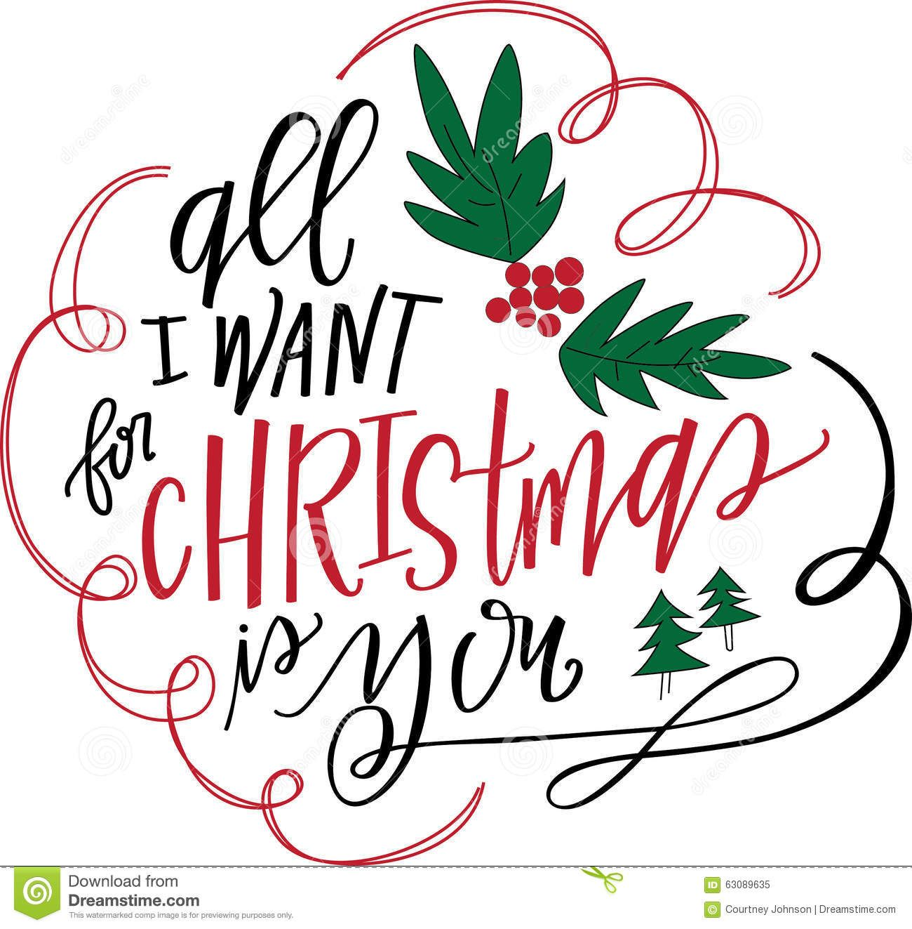 All I Want For Christmas Is You Hand Lettering Quotes Lettering Christmas Labels