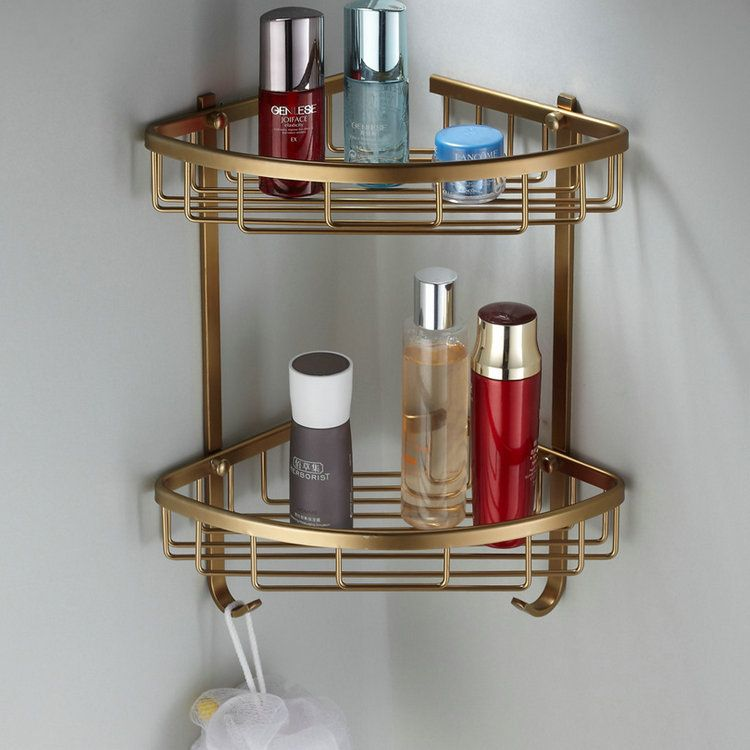 Bathroom Double Layer Triangle Corner Shower Caddy Storage Rack ...