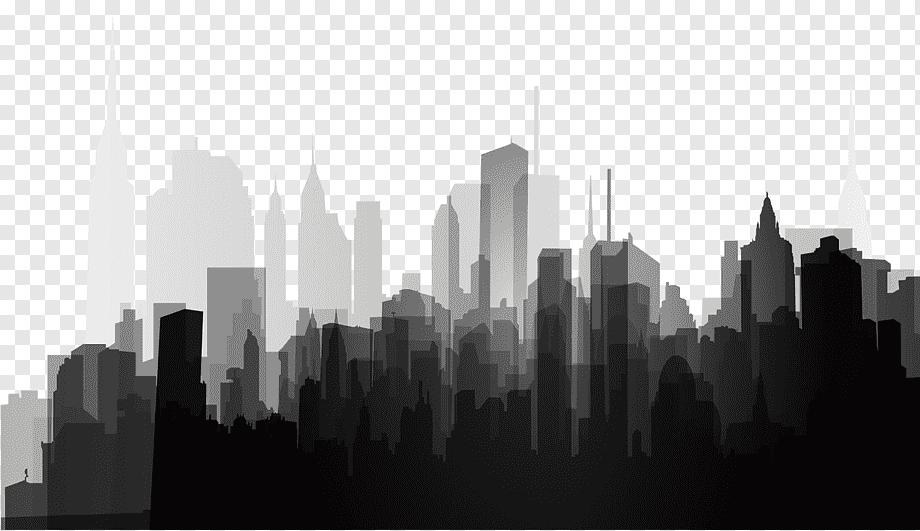 Silhouette Splash Black And White City Silhouette High Rise Buildings Illustration White Buildi City Skyline Silhouette City Silhouette Gotham City Skyline