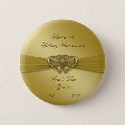 Classic Golden 50th Wedding Anniversary Button