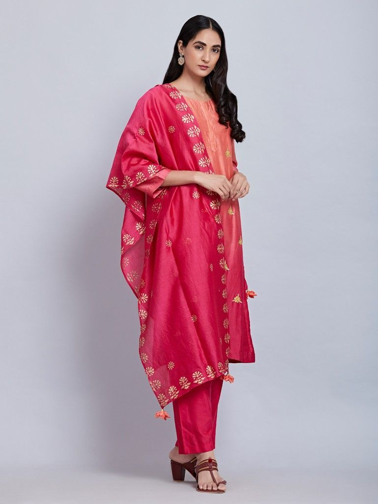 Peach red ombre chanderi silk kurta with cotton silk pants and block