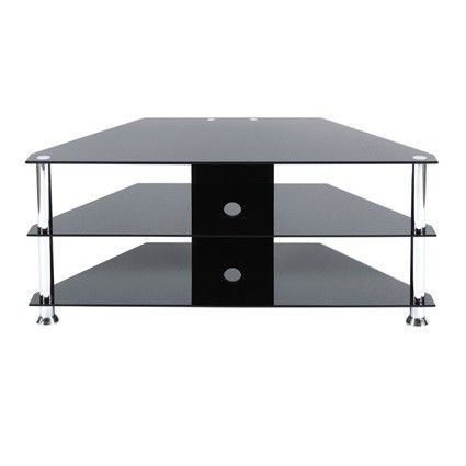 Levv Chrome Black Glass Corner Tv Stand Up To 50 Manufactured