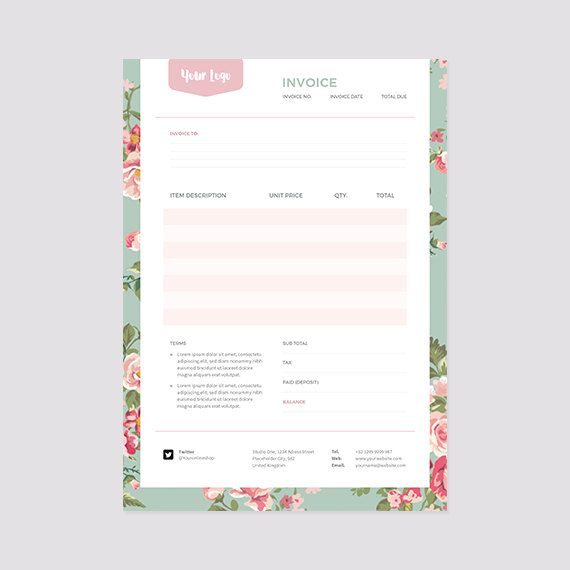 Floral Invoice Template - Receipt Template - Format Photoshop and MS ...