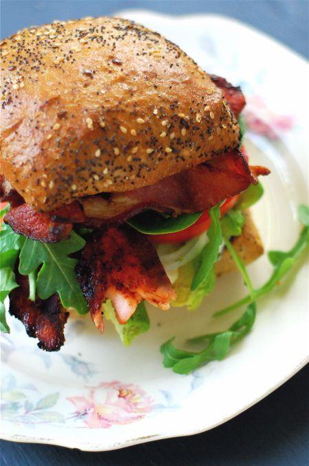 Grilled Salmon  BLT on Ciabatta Bread