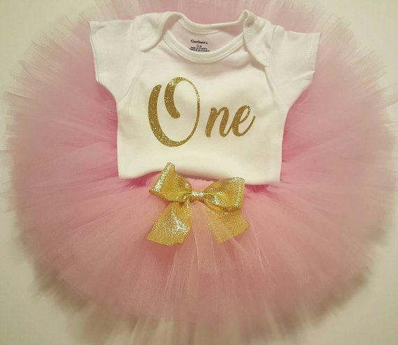 1ST BIRTHDAY OUTFIT Girls Pink and Gold by ColorfulTutuFun on Etsy