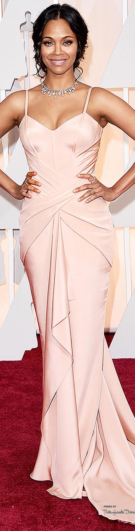 Oscars2015 Zoe Saldana in Atelier Versace | rosa | Pinterest ...