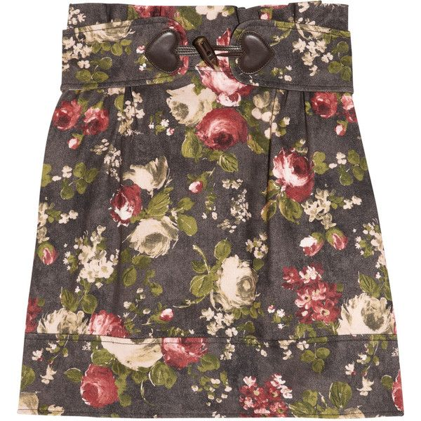 Love Moschino Floral-print stretch-denim skirt ($155) ❤ liked on Polyvore