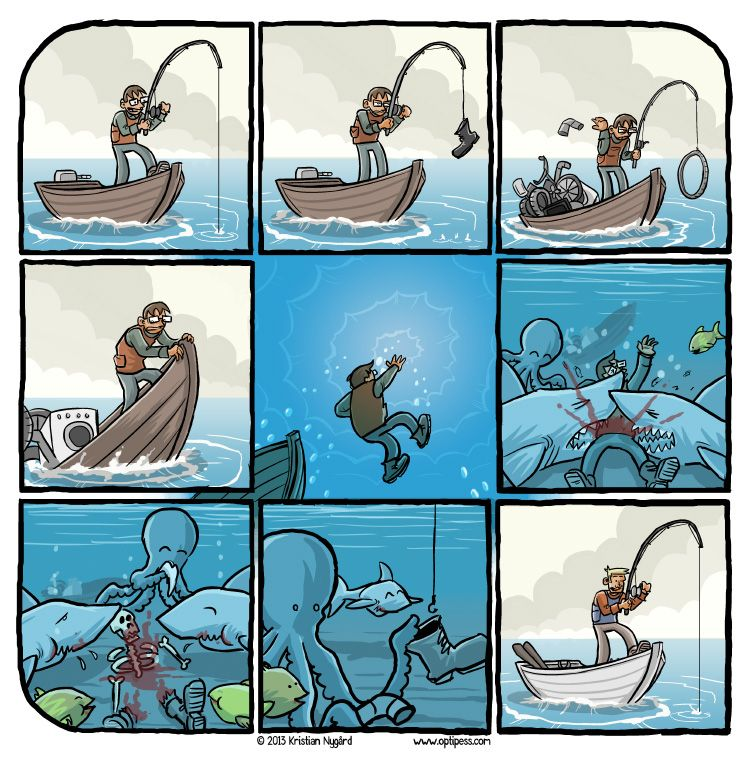 Boat boating cartoon comic fishing funny gun hook humor for Funny fishing cartoons