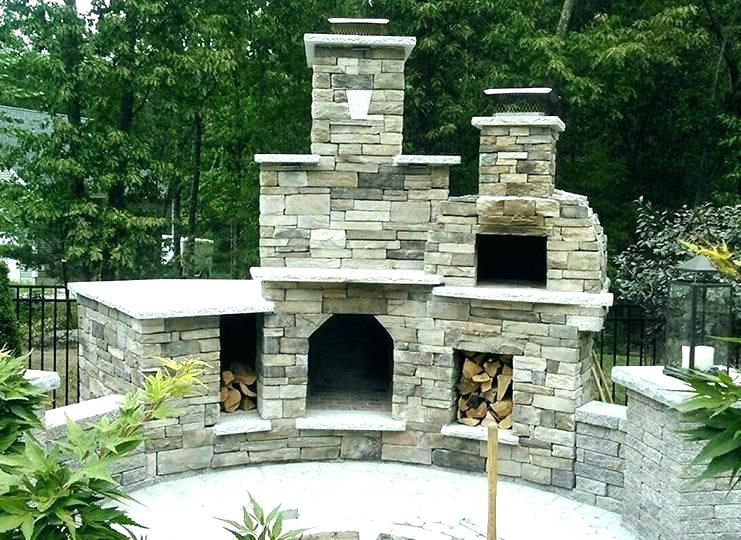 Outdoor Fireplace Kits With Pizza Oven Fire Pit Essentials