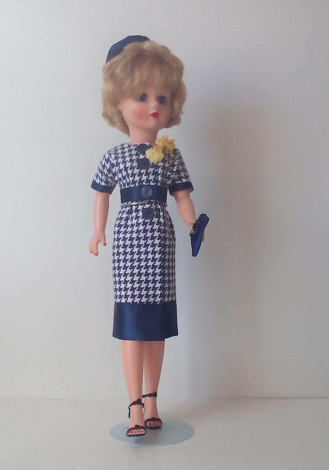 Blue and white houndstooth print dress with matching pillbox hat and handbag for 18 inch Miss Revlon doll and friends. by DollieFashionsbyEl on Etsy
