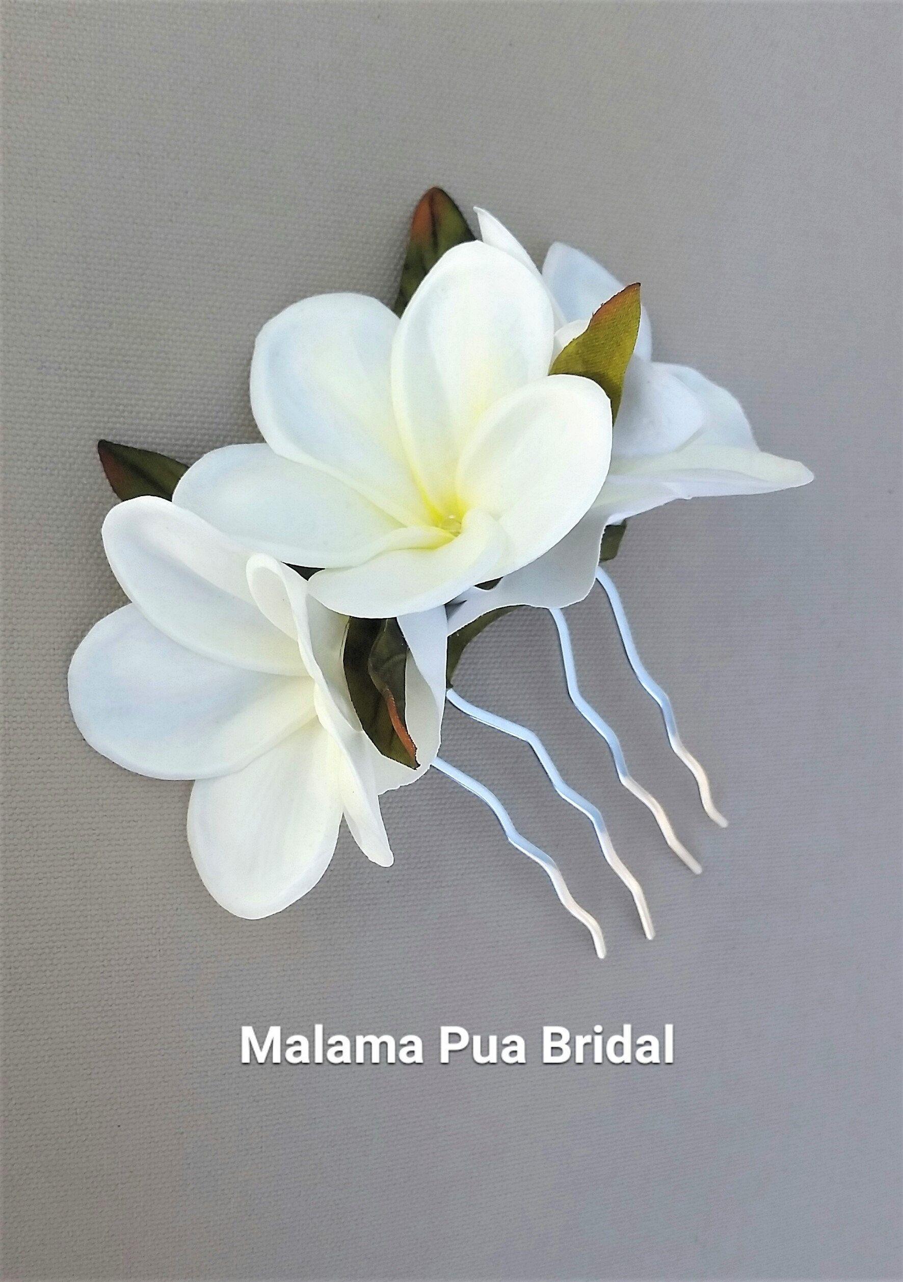 Real Touch Hawaiian Plumeria Hair Comb Bridal Silk Flower Clip Beach Wedding Flower Hea Flower Hair Pieces Flower Headpiece Wedding Flower Hair Accessories