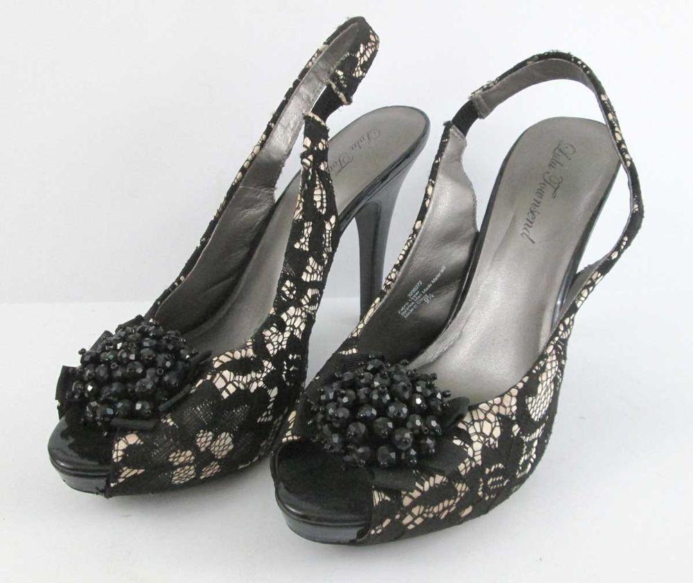 ff08afe66484 Lulu Townsend Satin and Black Lace Peep Toe Stiletto Heels 9.5 M   LuluTownsend  Stilettos  Formal