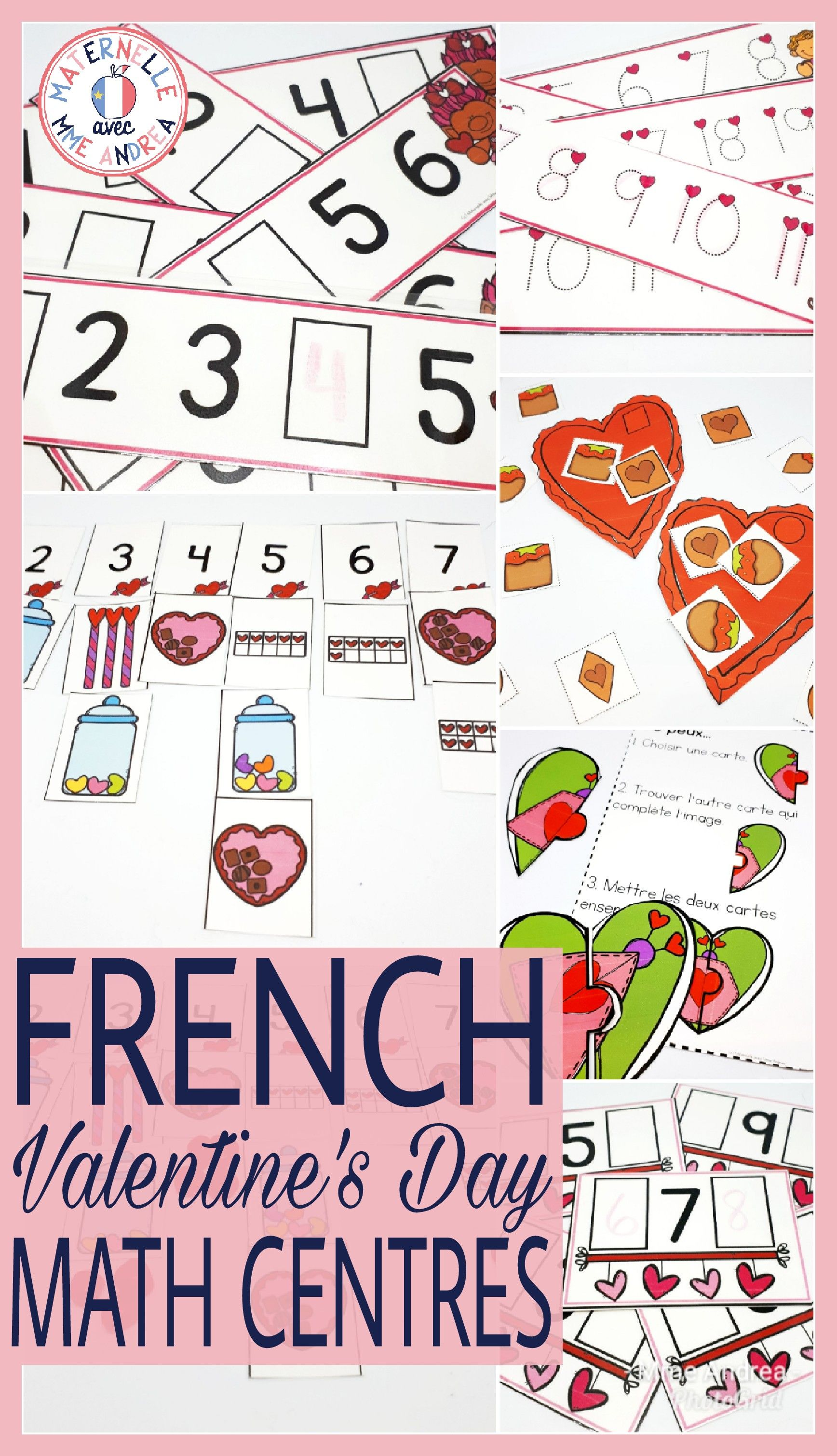 5 Different French Valentine S Day Math Centres Great For Kindergarten Or First Grade Students Will Enjoy Practicing Number Math Centers Math Engagement Math
