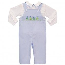 Smocked Christmas Tree Boys Overall - $64.00