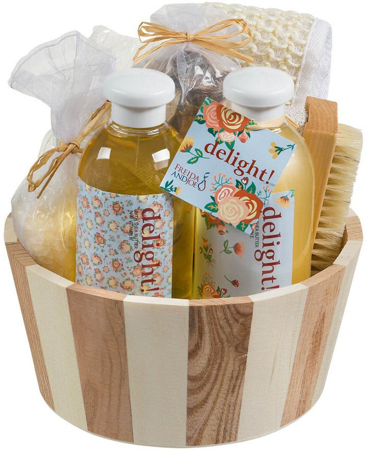 Freida Joe Delight Spa Gift Set In Two Tone Wood Basket Aromatherapy Gifts Spa Gifts Set Spa Gifts
