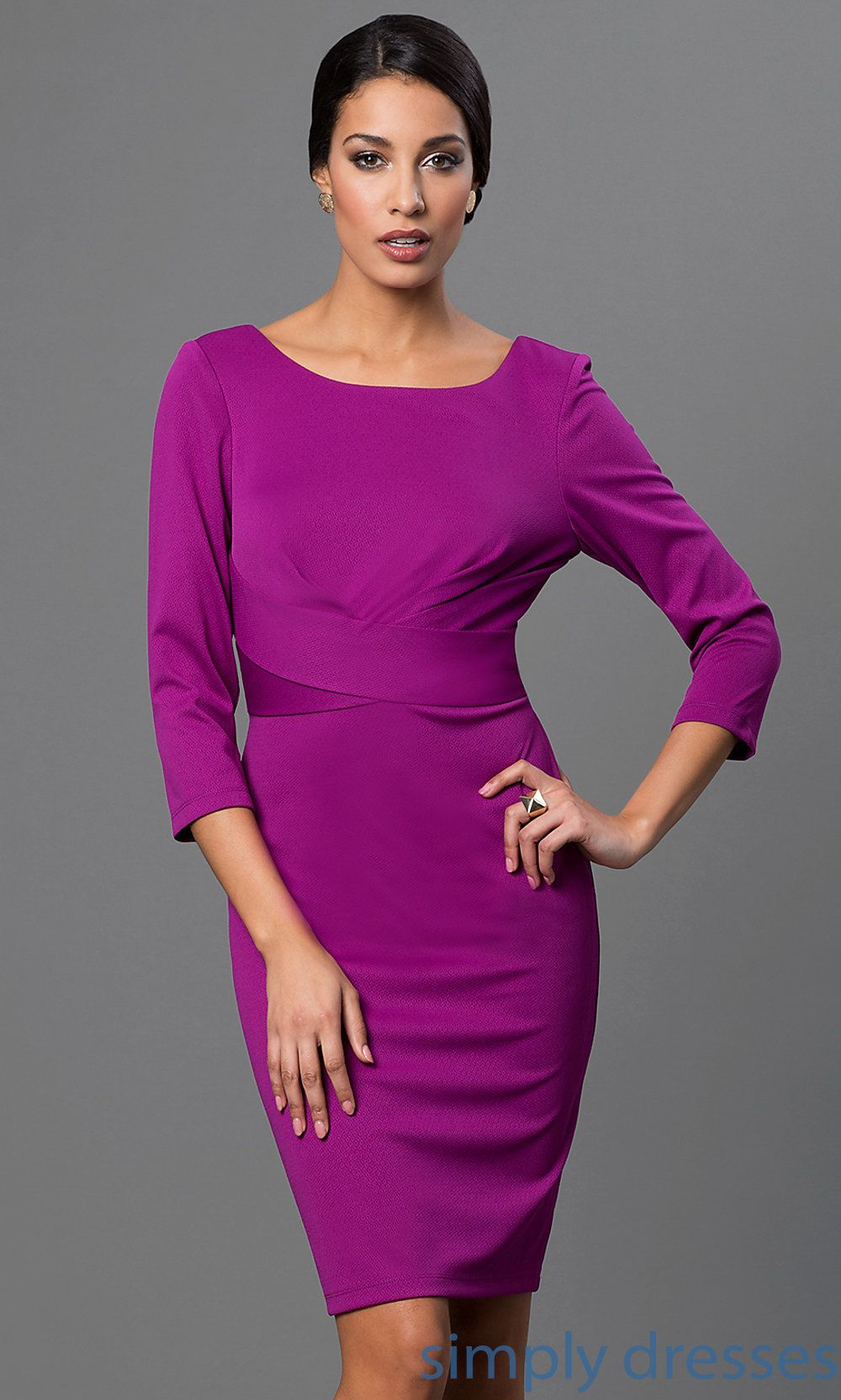 Knee Length Purple Dress with Three Quarter Length Sleeves ZAR-DR ...