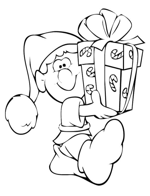 Elves Get A Gift Box At Christmas Coloring For Kids With Images