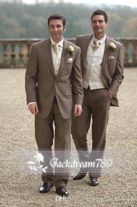 2015 coffee custom made One Button wedding suits for men Groom ...