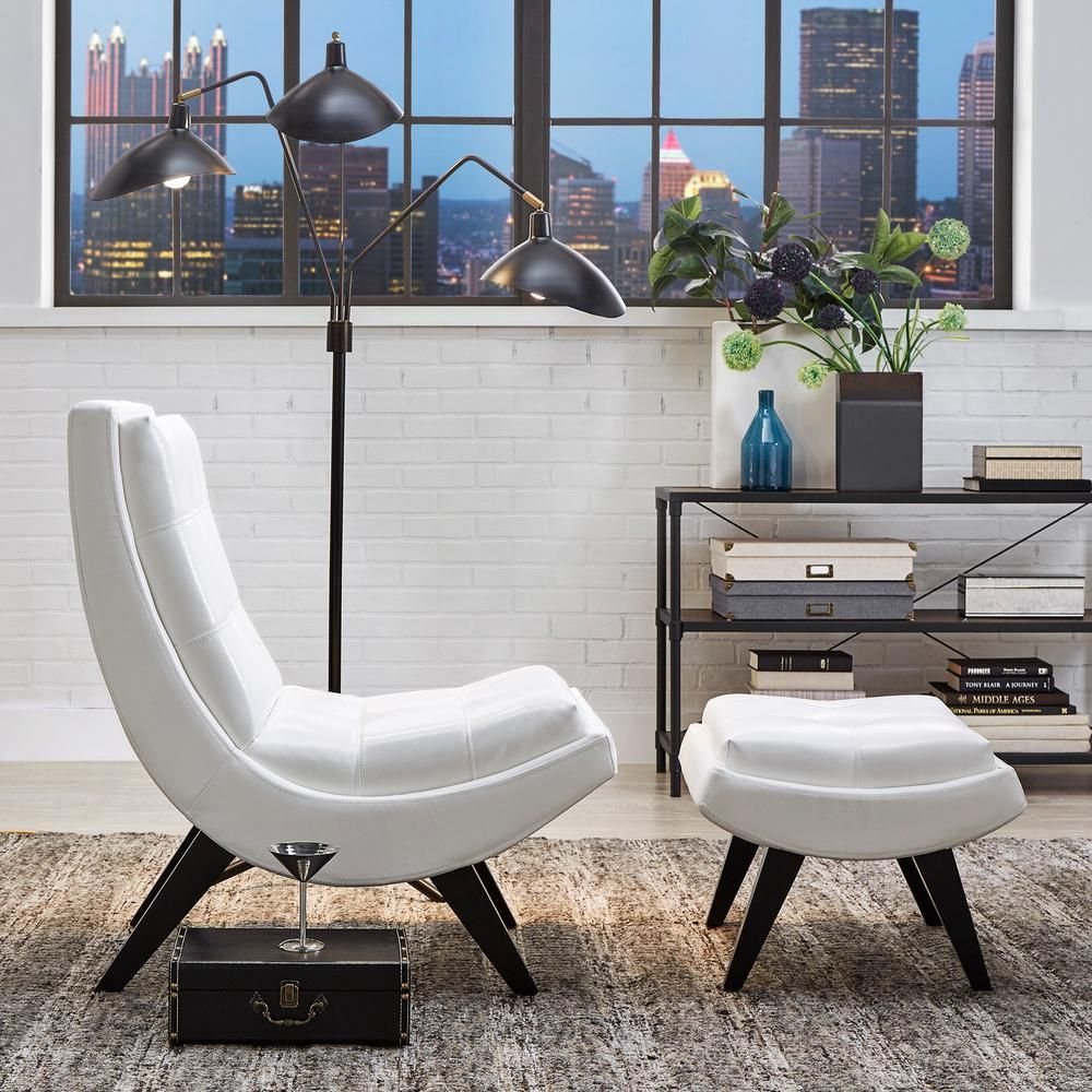 Homesullivan White Faux Leather Chair With Ottoman 40876s651s 3a The Home Depot In 2020 Leather Chair With Ottoman Leather Chair White Leather Chair