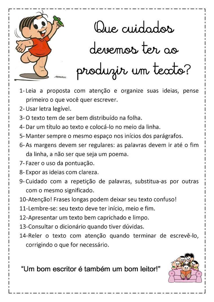 Muitas vezes Blog da professora Edivania: CUIDADOS PARA PRODUÇÃO DE TEXTO  FU79