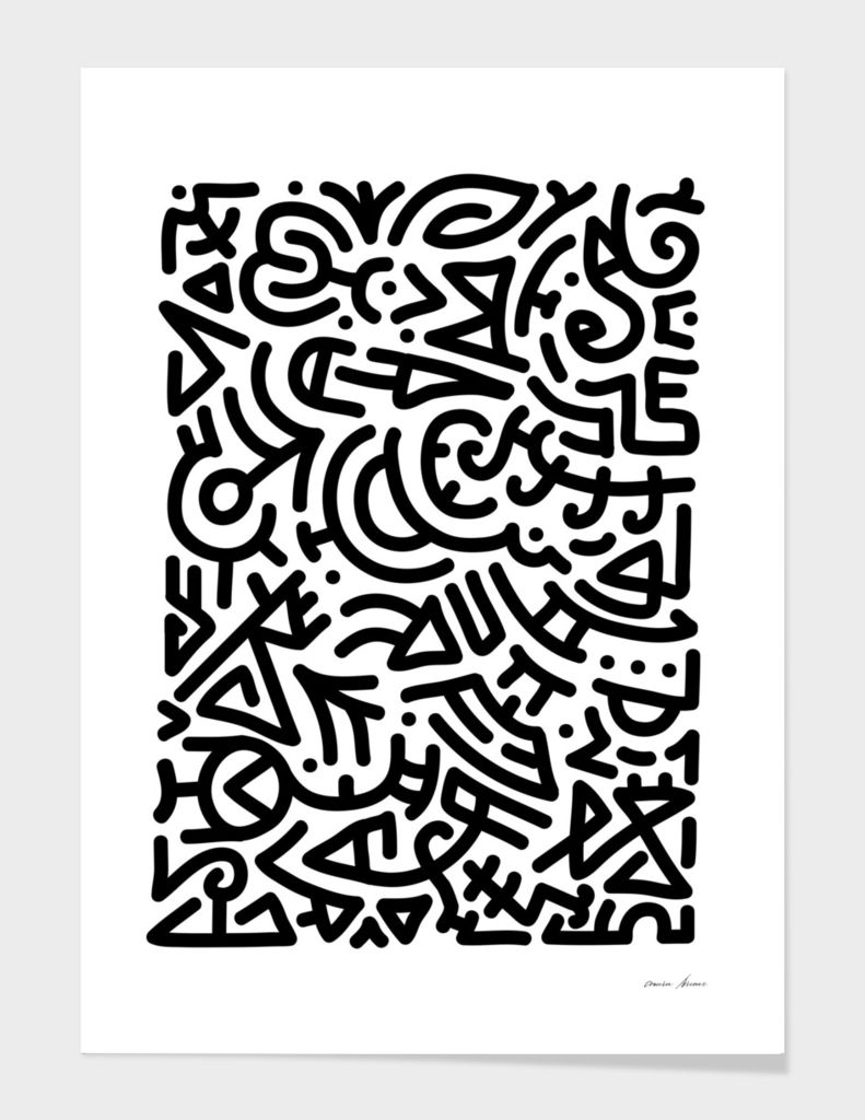 Bold Black Marker Doodle Lines Art Print By Bicone Numbered