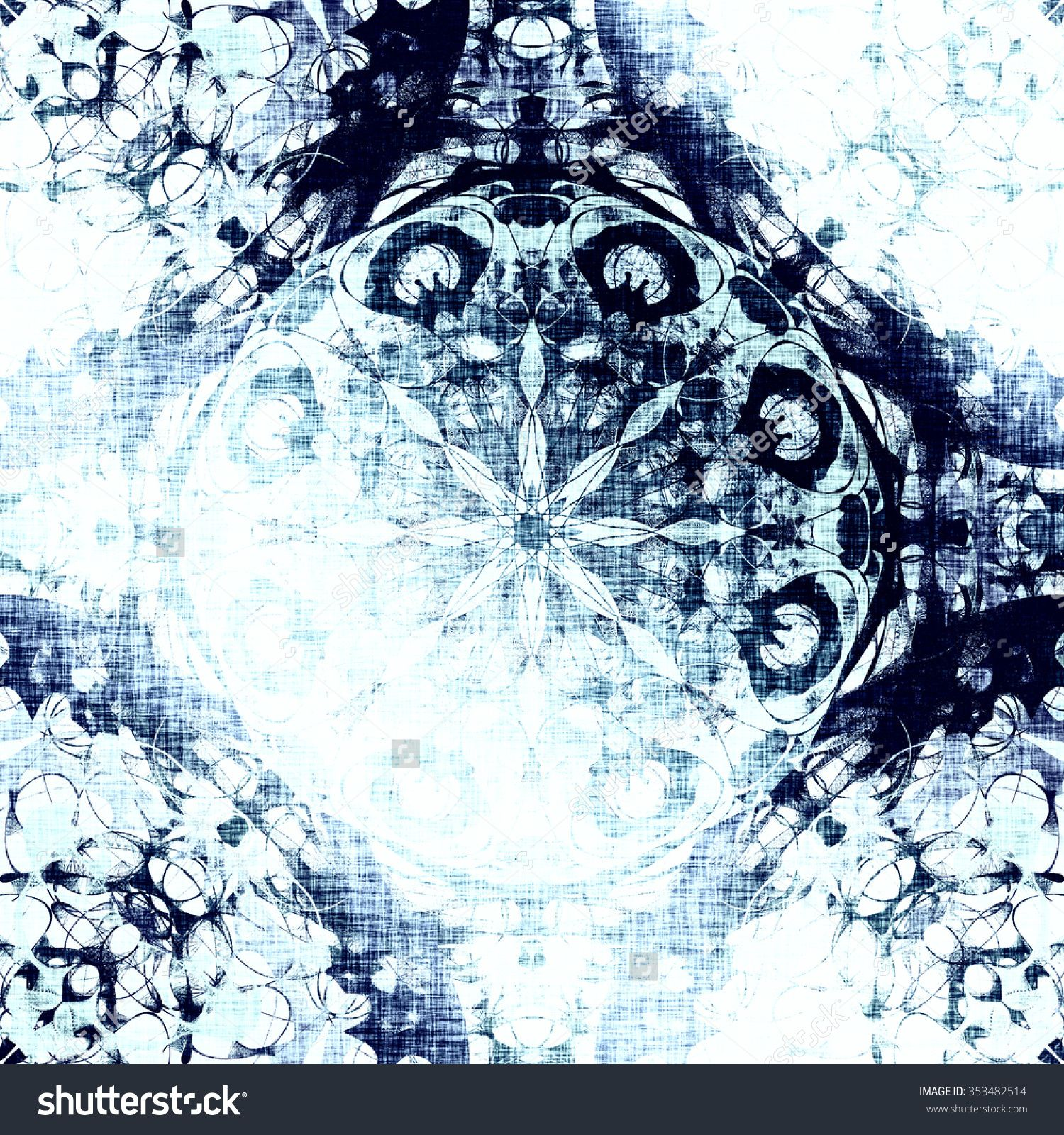 Cold Blue Indian Pattern, Floral Circle With Tribal Traditional Elements. Luxury Christmas Texture, Frozen Snowflake. Boho Textile Background, Oriental Ethnic Carpet Imagen de archivo (stock) 353482514 : Shutterstock