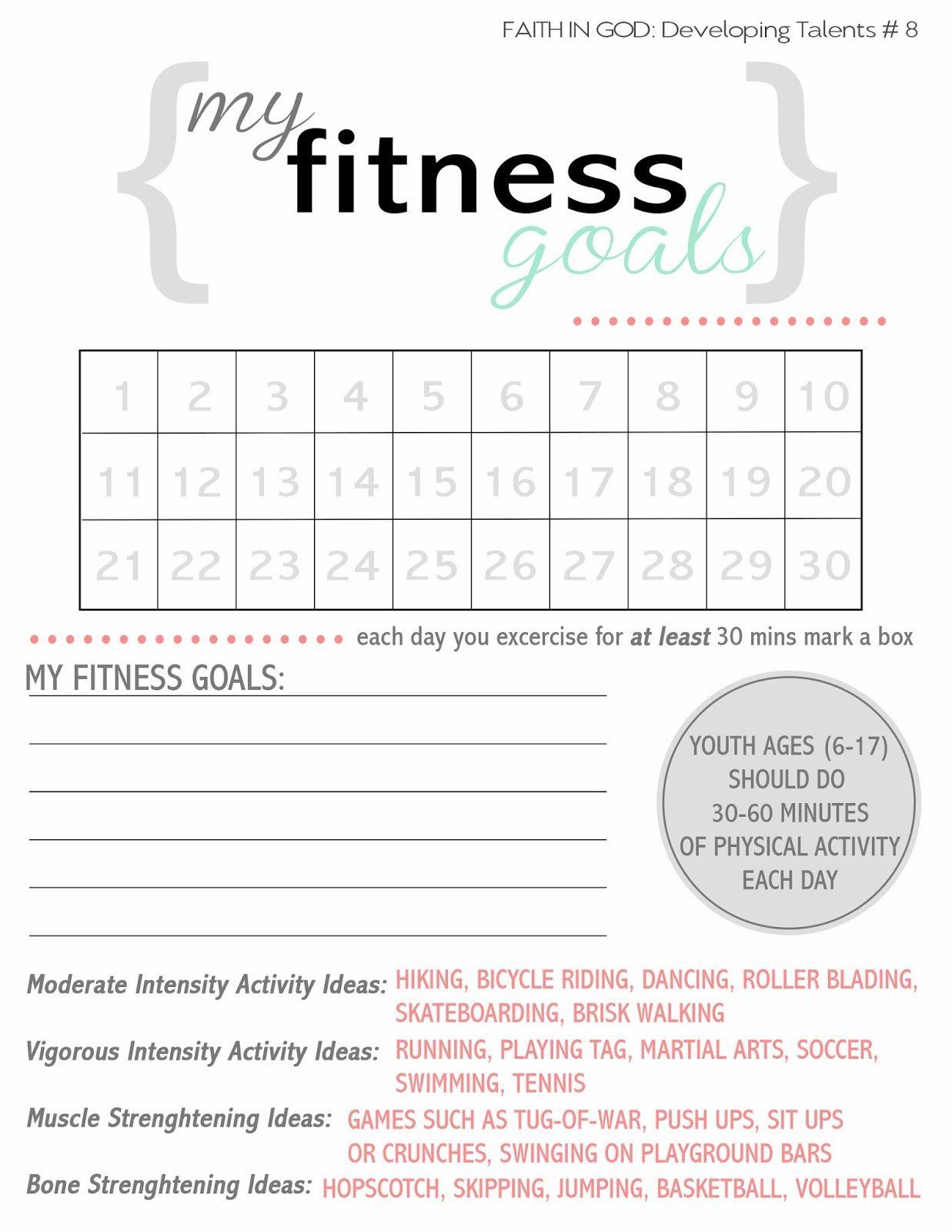 Exercise Goals Worksheets