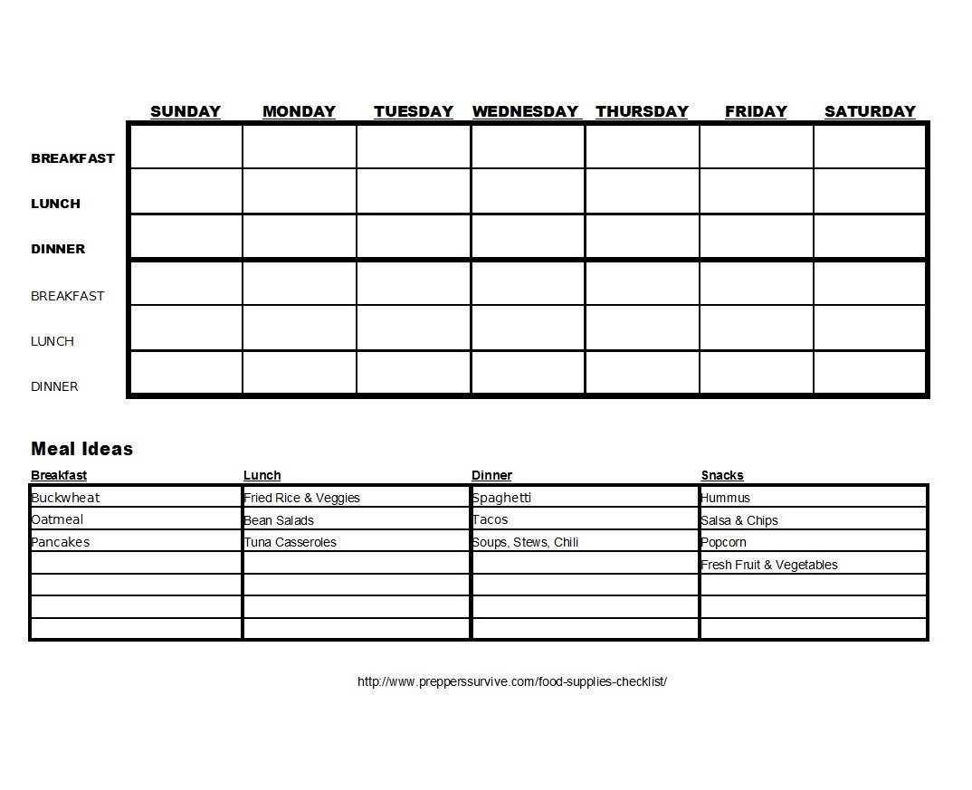Food Storage Guide Worksheet Supplies Checklist