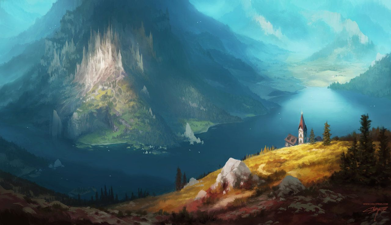 Lake By Chillay On Deviantart Mountain Illustration Fantasy Landscape Mountain Paintings Fantasy art river forest mountains sky