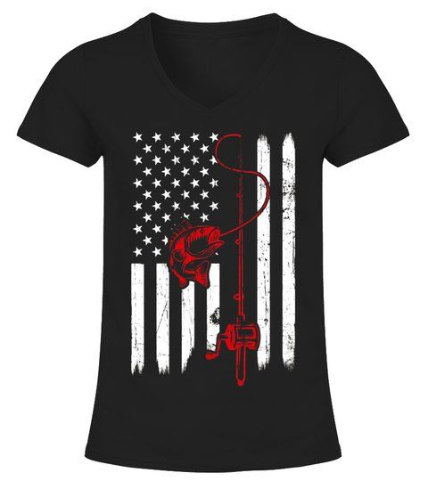 Download Vintage Fishing Tshirt with American Flag Bass Fishing # ...