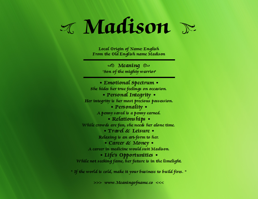 What does madison