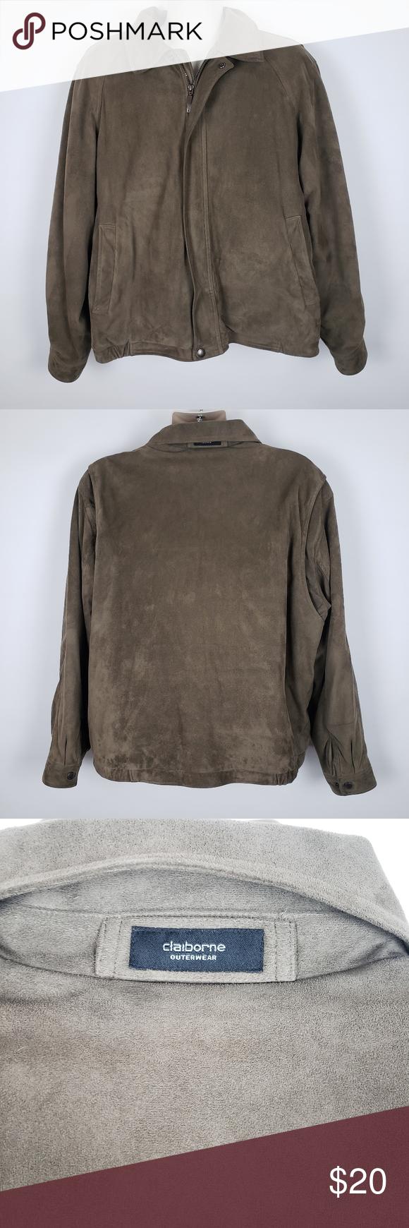 Mens Claiborne Seuded Brown Jacket Xl Brown Jacket Jackets Brown Suede Jacket [ 1740 x 580 Pixel ]