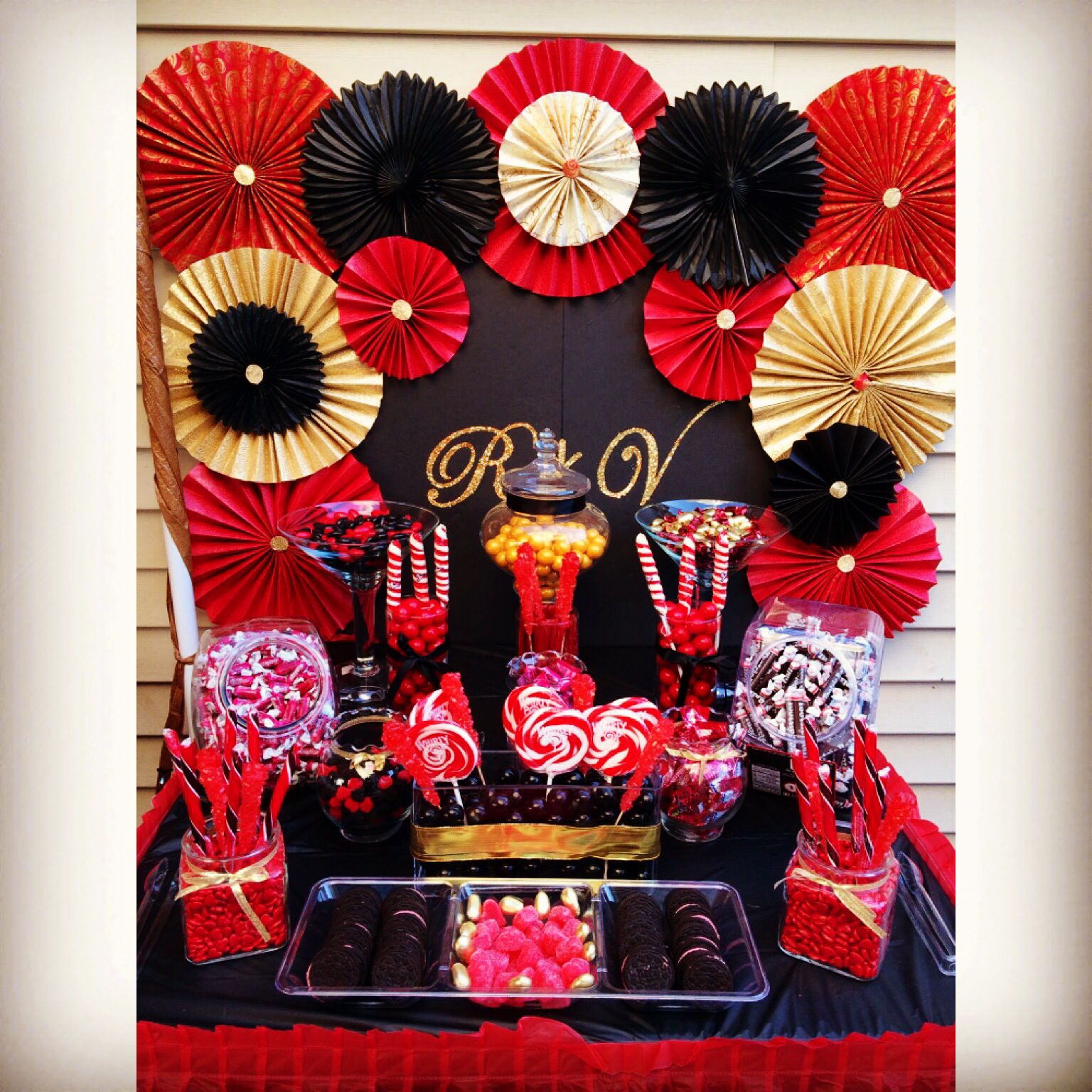 Black Red And Gold Candy Table Red Party Decorations Gold