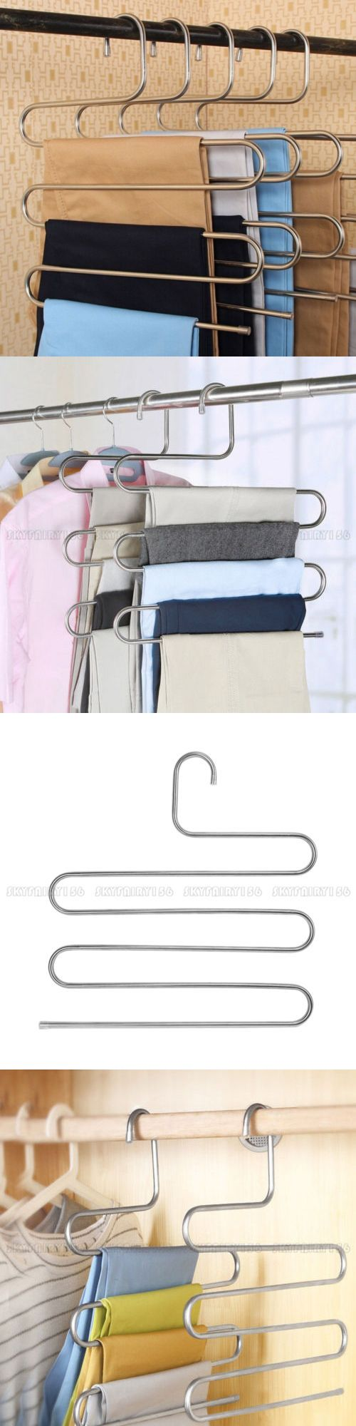 5pcs S Type Clothes Pants Trouser Hanger 5 Layer Storage Rack Closet Space Saver Closet Space Savers Closet Storage Clothes Hanger