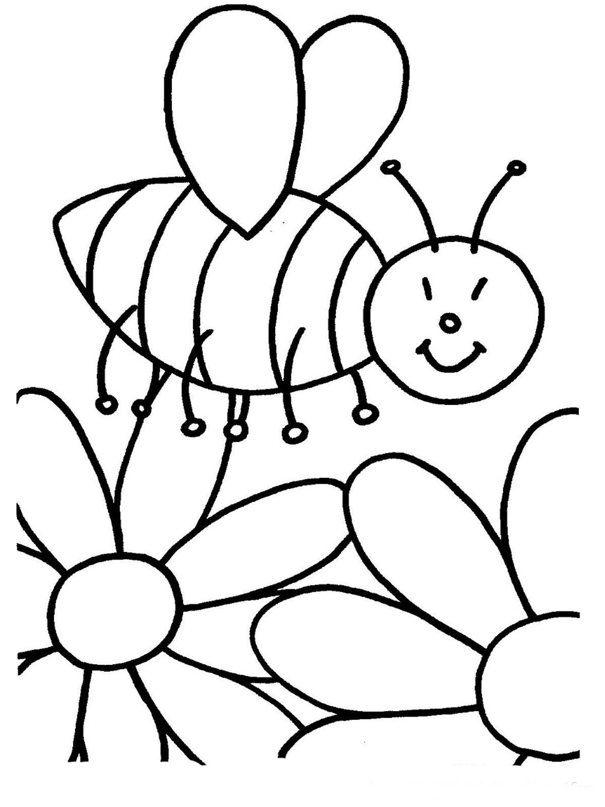Kindergarten free colouring worksheets - Spring Flowering Bee Free Printable Coloring Pages Spring Flowering Bee Free Printable Coloring Pages