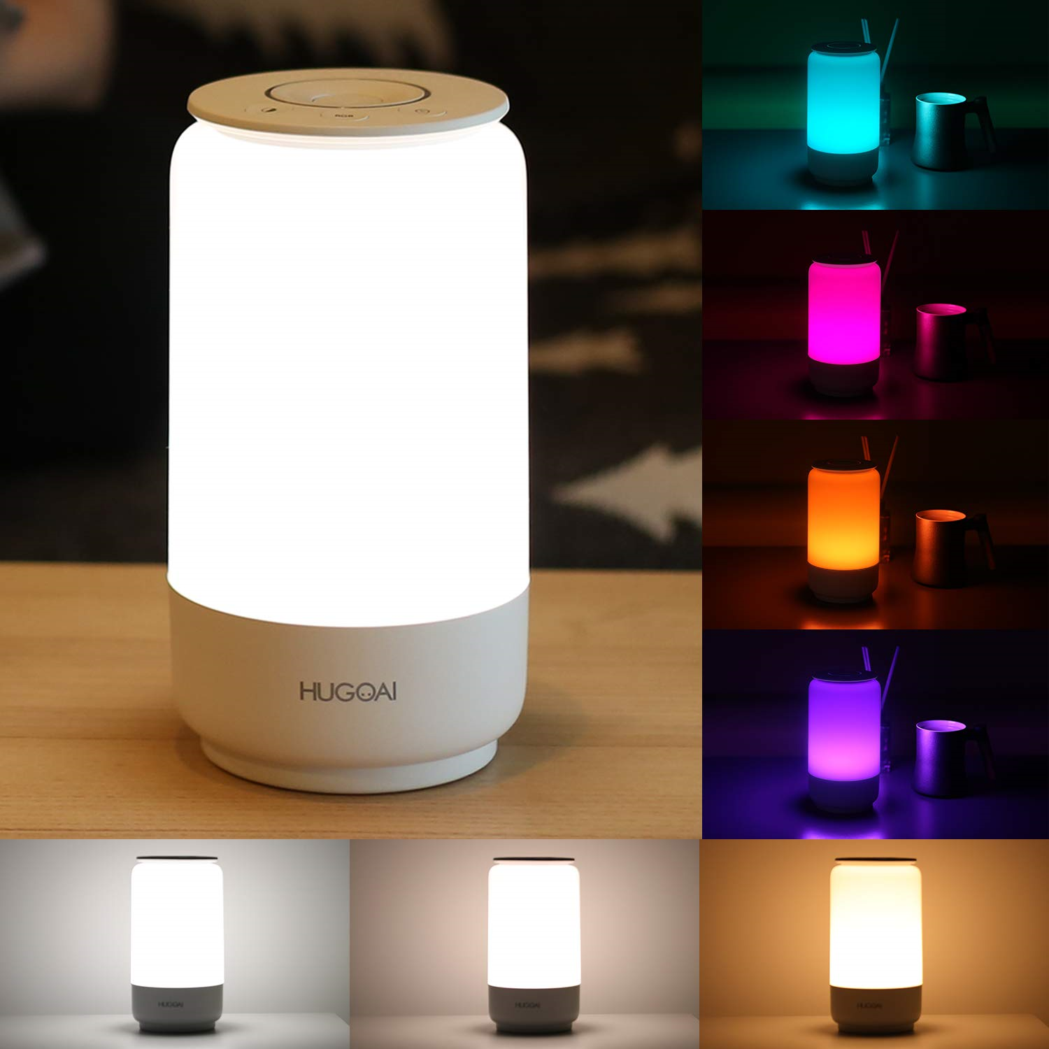 Hugoai Led Table Lamp Bedside Lamp Night Light For Bedroom With