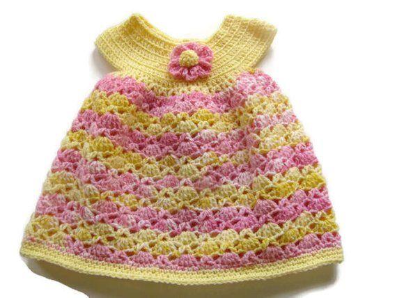 cf93fc255 Crochet Pink   Yellow Baby Girl Dress - Crocheted Baby Dress - Size ...