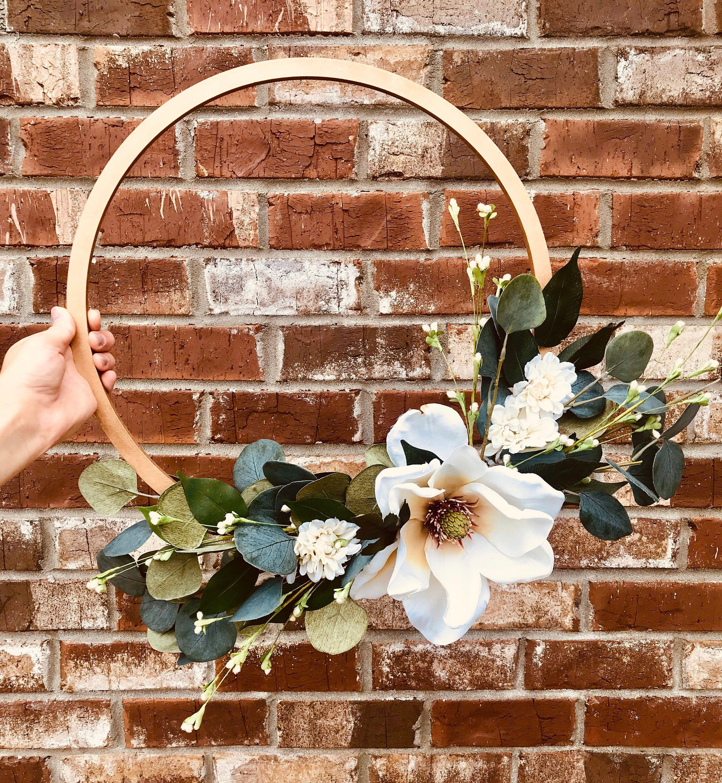 Photo of Magnolia tire wreath, magnolia wreath, magnolia, bridal hoop, spring wreath, tire wreath, summer wreath, front door wreath, green wreath