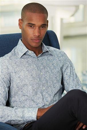 Blue Detailed Paisley Formal Shirt