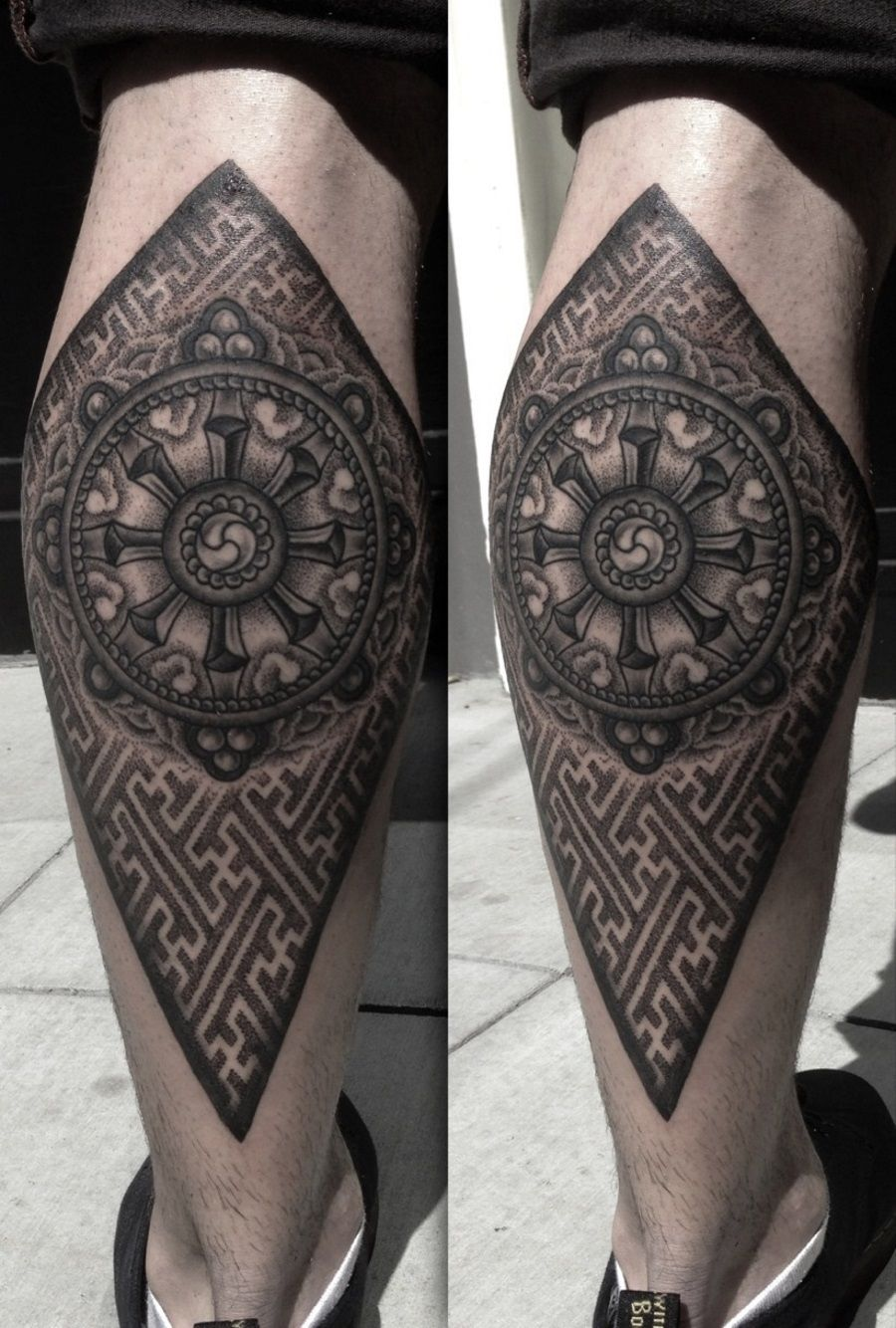 this tattoo is showing the wheel of life and the syagata