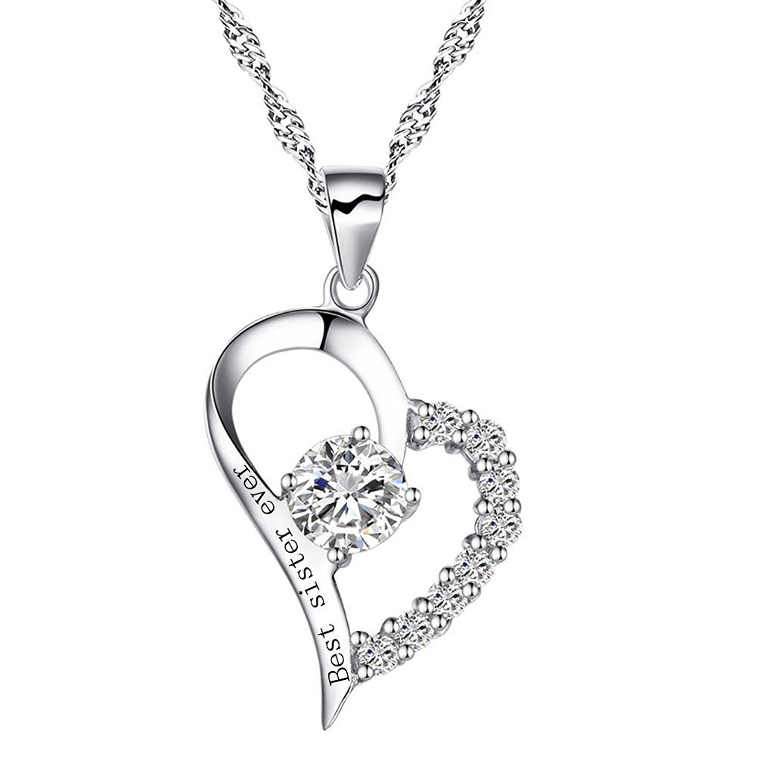 Elements Silver Women's 925 Sterling Silver Diamond Cut Cubic Zirconia Black Teardrop Pendant Curb Chain UwzRDl