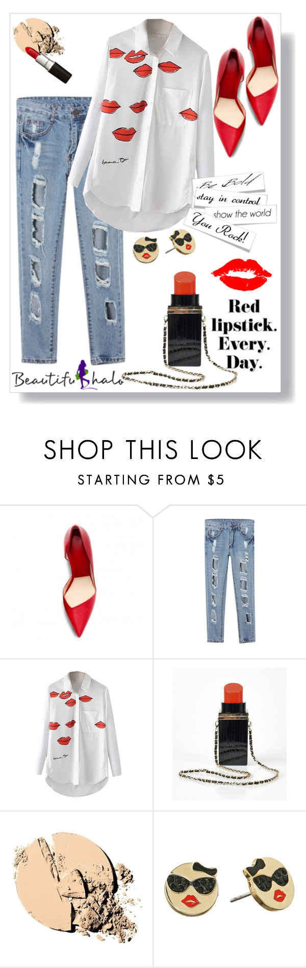 """Beautifulhalo 6"" by christinacastro830 ❤ liked on Polyvore featuring Maybelline, Kate Spade, vintage and bhalo"