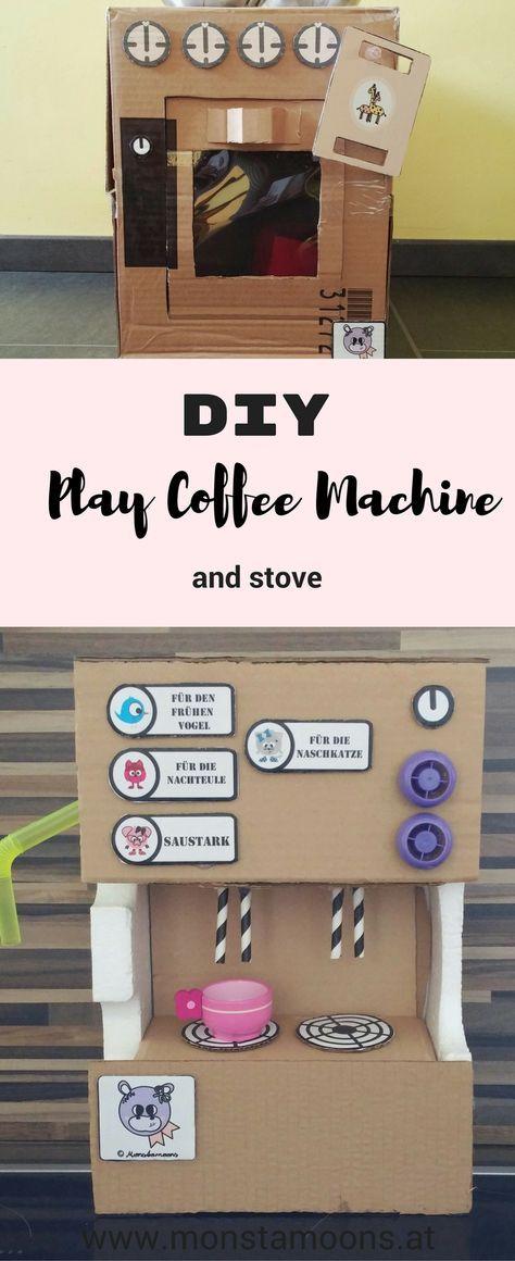 DIY Spielküche und Spielkaffeemaschine, DIY Spielherd basteln ...