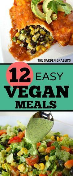 12 Easy Satisfying Vegan Meals Vegan Recipes Vegan