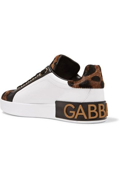Logo-embellished Leather And Leopard-print Calf Hair Sneakers - Leopard print Dolce & Gabbana M0gzaxVa6L