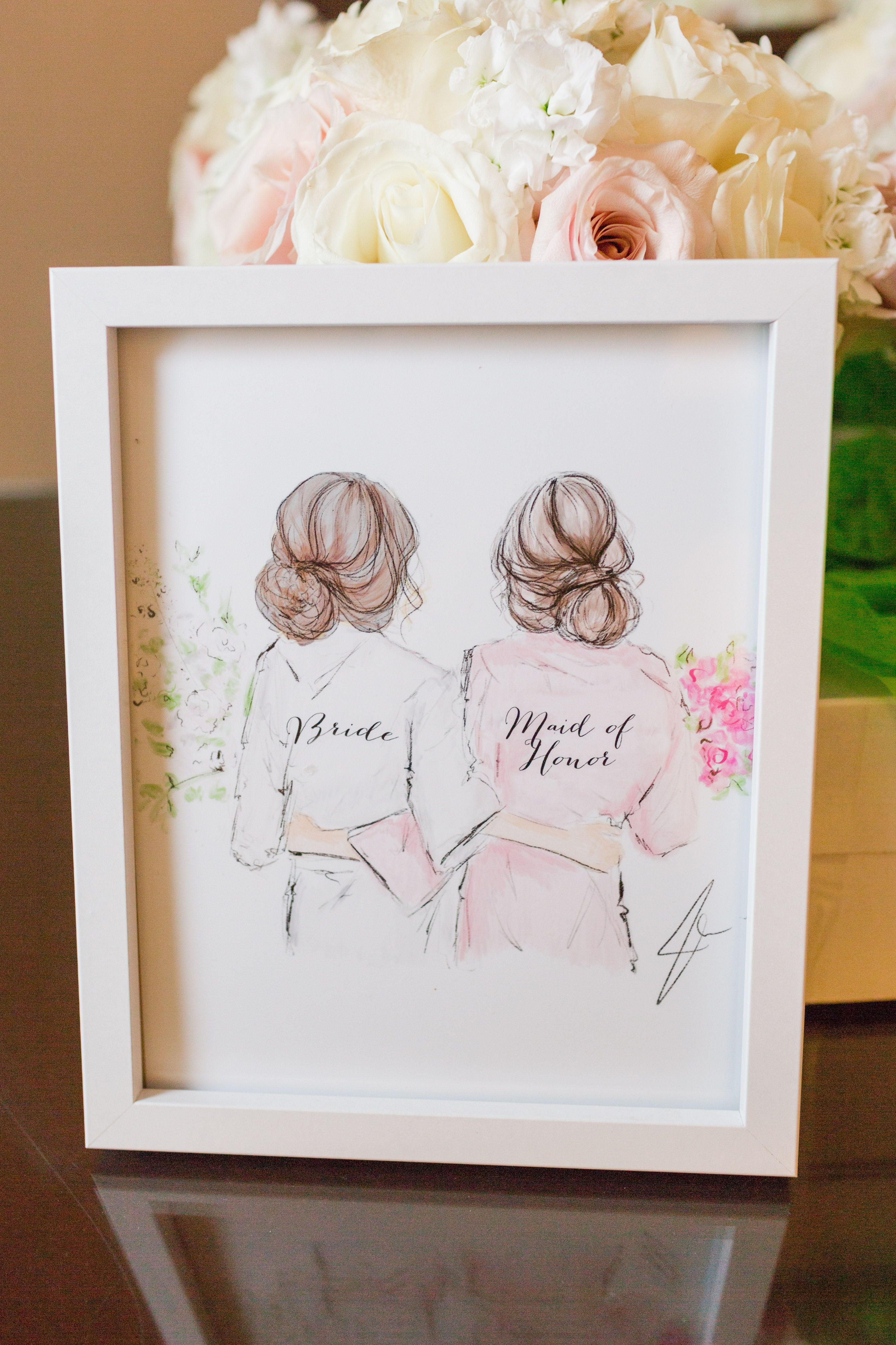 Bride Maid Of Honor Watercolor Gift Sister Wedding Gift Wedding Gifts For Bridesmaids Bridesmaid Presents